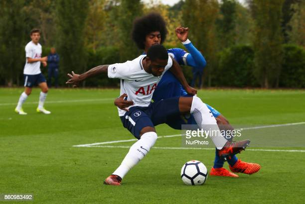 Japhet Tanganga of Tottenham Hotspur Under 23s holds of Hamza Choudhury of Leicester City Under 23s during Premier League 2 Div 1 match between...