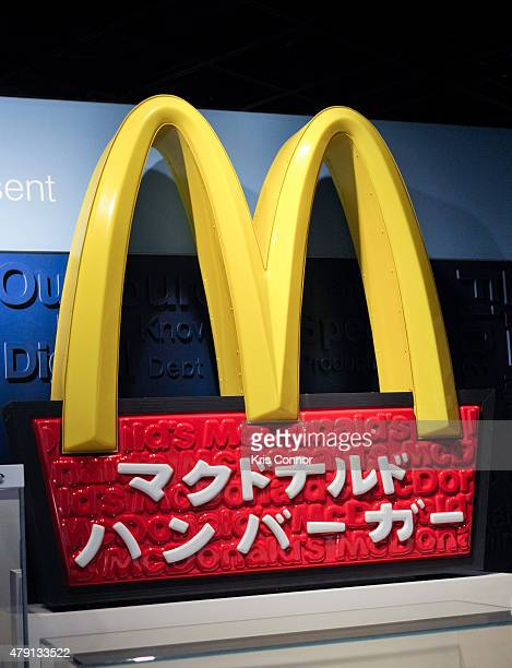 Japnese McDonald's sign is on display during the grand opening of National Museum Of American History's Innovation Wing at the National Museum Of...