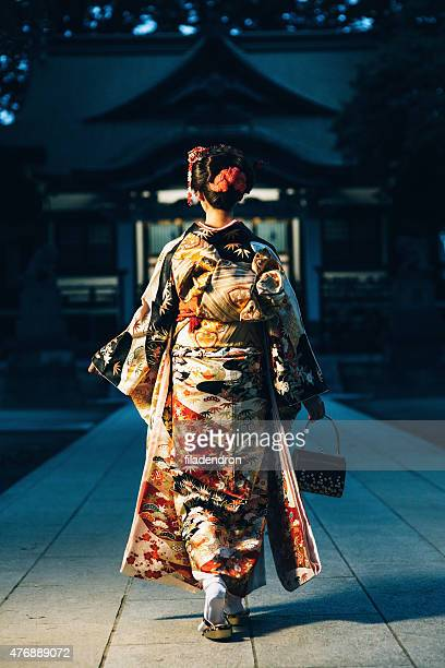 Japonese woman walk to the temple