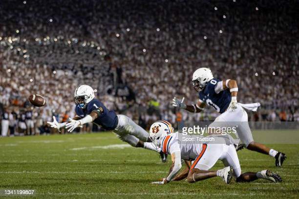 Jaquan Brisker of the Penn State Nittany Lions breaks up a pass intended for Demetris Robertson of the Auburn Tigers during the second half at Beaver...