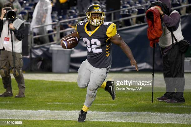 Ja'Quan Gardner of the San Diego Fleet celebrates after scoring a touchdown in the fourth quarter against the Atlanta Legends during the Alliance of...