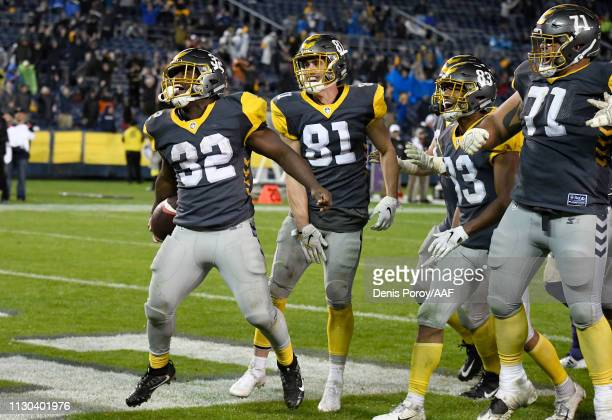 Ja'Quan Gardner of the San Diego Fleet celebrates with teammates after scoring a touchdown in the fourth quarter against the Atlanta Legends during...