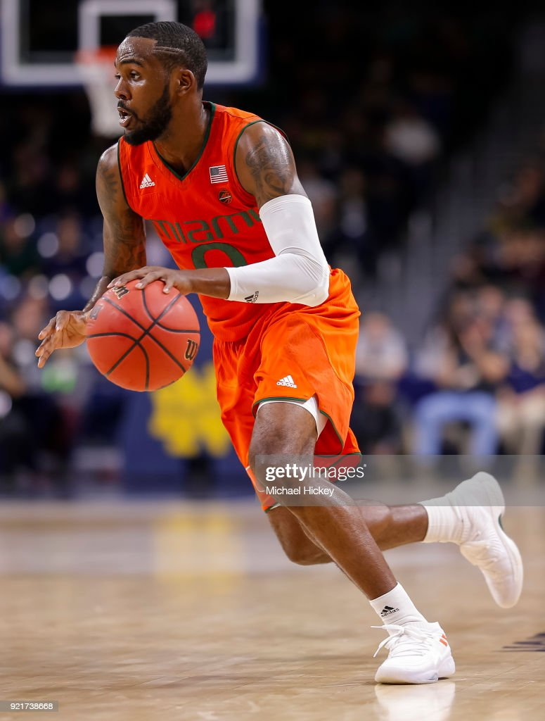 Ja'Quan Newton #0 of the Miami (Fl) Hurricanes brings the ball up court during the game against the Notre Dame Fighting Irish at Purcell Pavilion on February 19, 2018 in South Bend, Indiana.