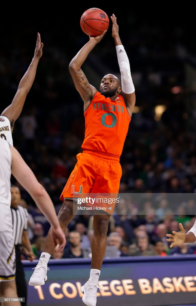 Ja'Quan Newton #0 of the Miami (Fl) Hurricanes shoots the ball during the game against the Notre Dame Fighting Irish at Purcell Pavilion on February 19, 2018 in South Bend, Indiana.