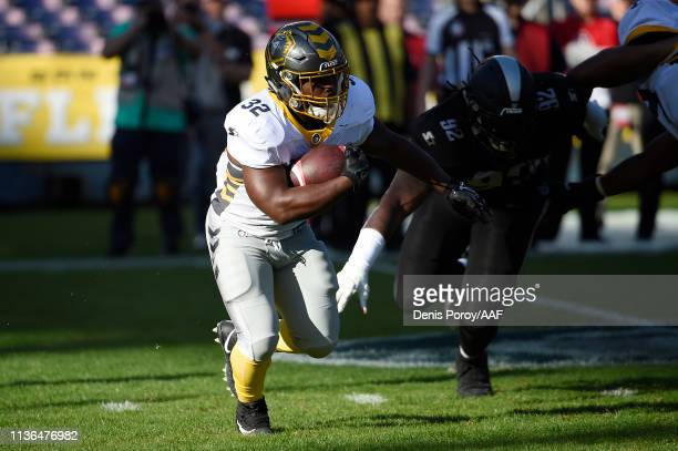 Ja'Quan Gardner of the San Diego Fleet carries the ball during the first half against the Birmingham Iron in an Alliance of American Football game at...