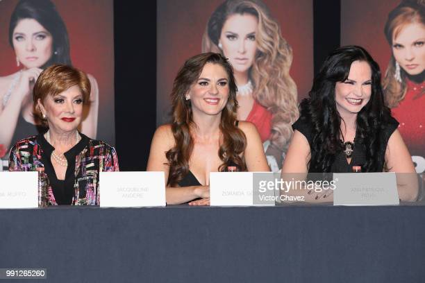 Jaqueline Andere Zoraida Gomez and Ana Patricia Rojo attend a press conference to promote the theater play 'Las Arpias' at El Telon de Asfalto on...