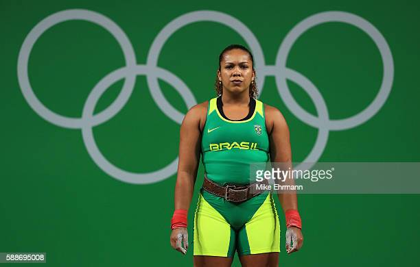 Jaqueline Antonia Ferreira of Brazil reacts during the Weightlifting Women's 75kg Group A on Day 7 of the Rio 2016 Olympic Games at Riocentro...