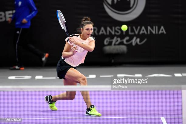 Jaqueline Cristian in action receiving the ball during the double's match with Alison Van Uytvanck against Lesley Pattinama Kerkhove and Aleksandra...
