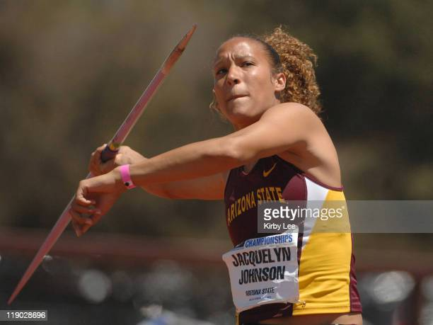 Jaquelyn Johnson of Arizona State had a best throw of 140-4 in the javelin for 721 points in the heptathlon in the Pacific-10 Conference Track &...
