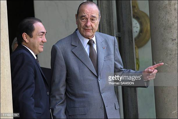Jaques Chirac receives MarieNoelle Themereau President of the Government of New Caledonia and Victor Brial Depute of Wallis and Futuna at the Elysee...