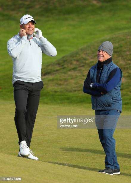 Jaques Kallis and Allan Lamb on the 12th during day three of the 2018 Alfred Dunhill Links Championship at Kingsbarns Golf Club on October 6 2018 in...