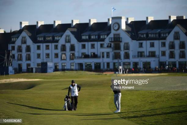 Jaques Kallis of South Africa plays a shot during day one of the 2018 Alfred Dunhill Links Championship at Carnoustie Golf Club on October 4 2018 in...