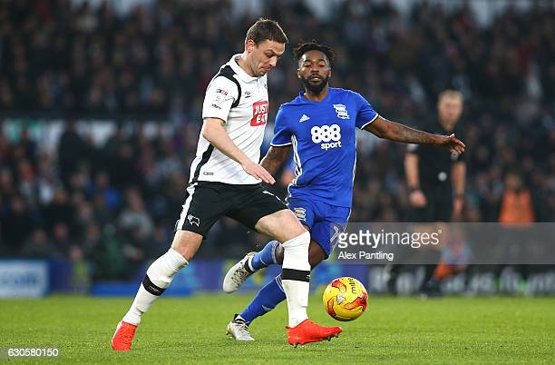 Jaques Maghoma of Birmingham City closes down Chris Baird of Derby County during the Sky Bet Championship match between Derby County and Birmingham...