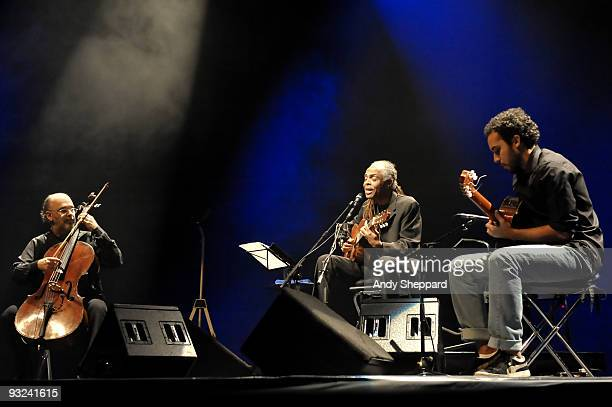 Jaques Morelenbaum Gilberto Gil and Bem Gil perform on stage at Royal Festival Hall as part of the London Jazz Festival 2009 on November 19 2009 in...