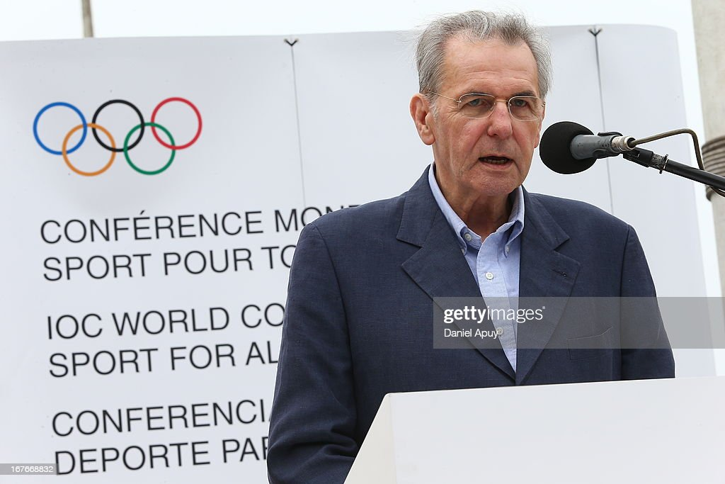 Jaques Rogge, IOC President, speaks during an organized walk from Parque Grau to Parque Salazar as part of the closing day of the 15th IOC World Conference Sports For All on April 27, 2013 in Lima, Peru.