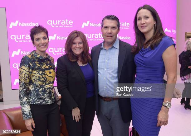Jaqui Lividini Colleen Rooney Whit Clay and Courtnee Chun attend the 'New Qurate Retail Group' Opening Bell Ceremony at NASDAQ MarketSite on June 12...