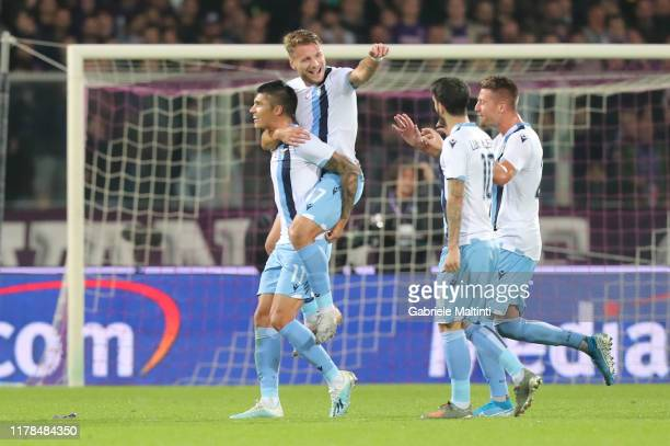 Jaquin Correa of SS Lazio celebrates after scoring a goal during the Serie A match between ACF Fiorentina and SS Lazio at Stadio Artemio Franchi on...