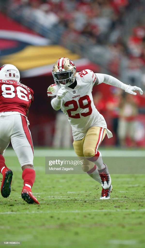 a1e089e9f Jaquiski Tartt of the San Francisco 49ers blitzes during the game ...