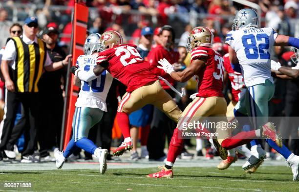 Jaquiski Tartt of the San Francisco 49ers tackles Ryan Switzer of the Dallas Cowboys during the game at Levi's Stadium on October 22 2017 in Santa...