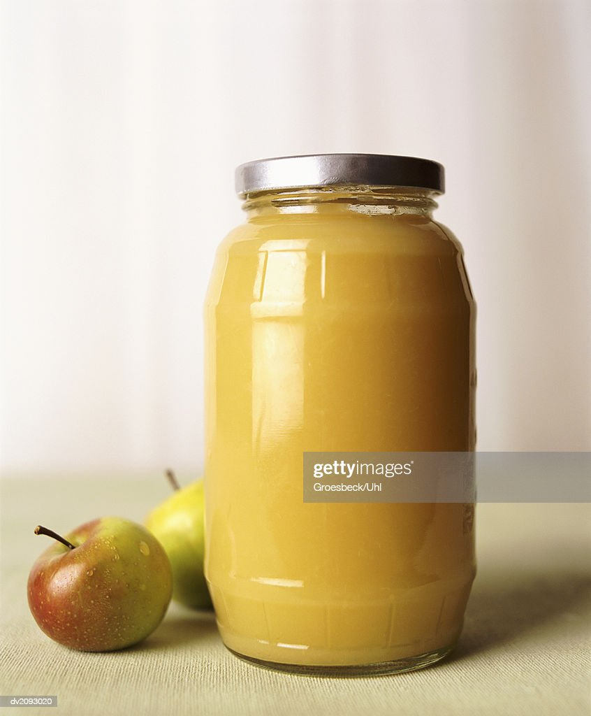 Jar of Apple Sauce : Stock Photo
