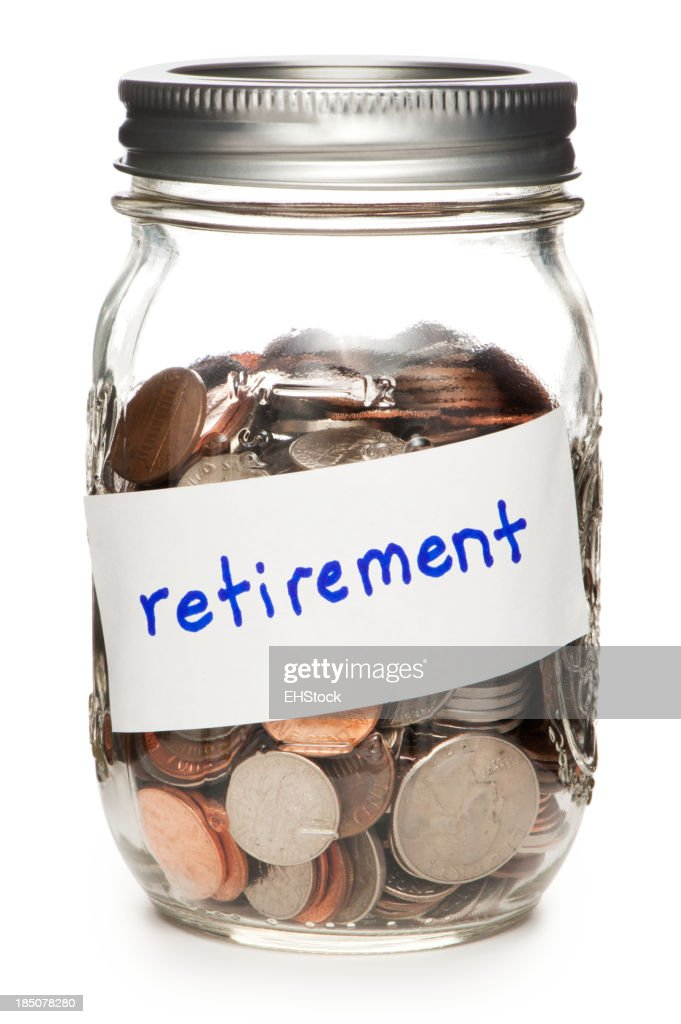 Jar of Coins Labeled Retirement Isolated on White Background : Stock Photo