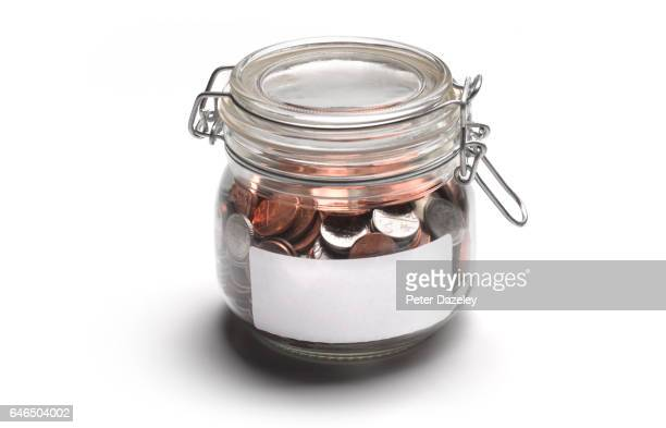 Jar of coins with copy space