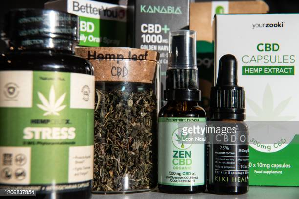 A jar of hemp leaves is seen among a range of CBDbased products in a branch of the retail chain Planet Organic on February 17 2020 in London England...