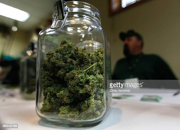 A jar of marijuana is seen on a vendor table at the Cannabis Crown 2010 expo April 18 2010 in Aspen Colorado Cannabis Crown 2010 is hosting hundreds...