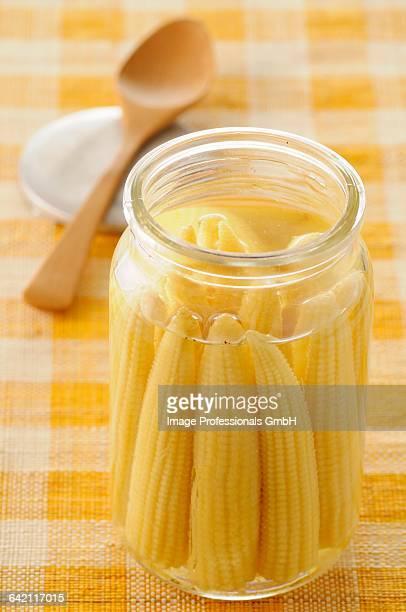 Jar of mini corn on the cobs