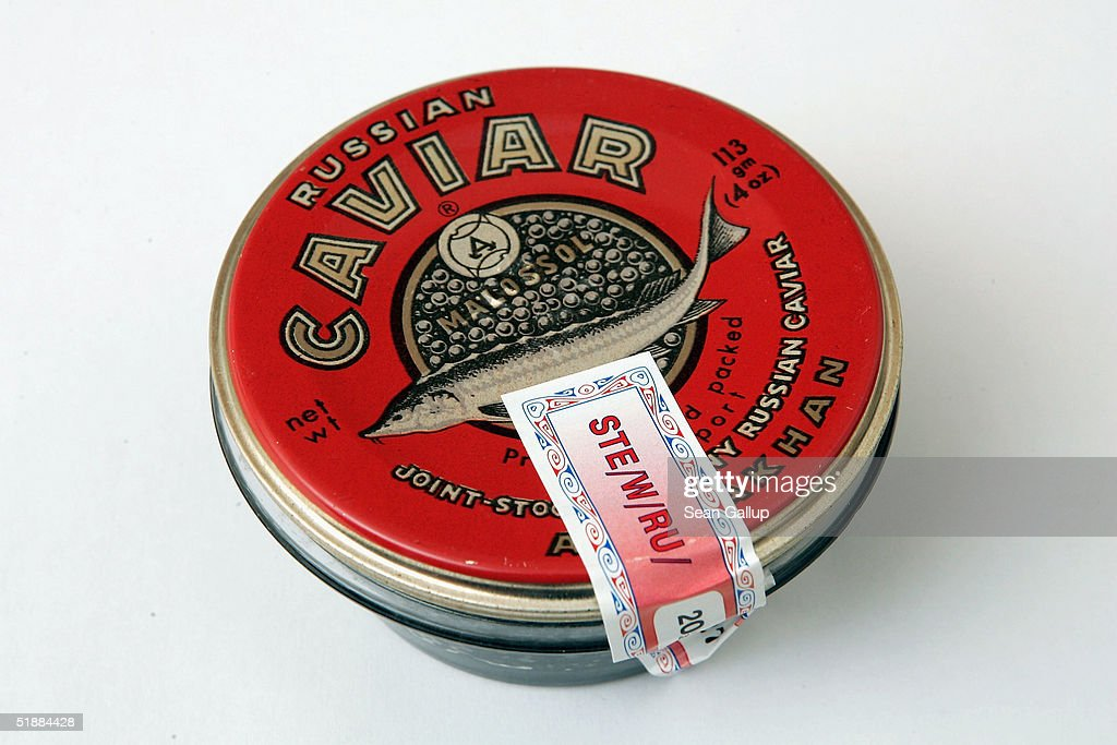 A jar of Sevruga caviar imported from Russia carries a
