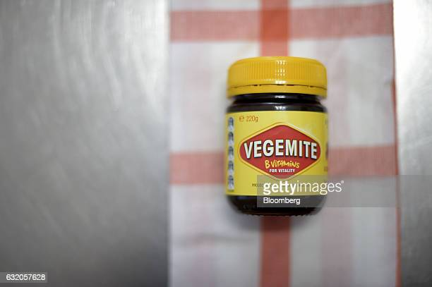 A jar of Vegemite spread sits on a kitchen table in an arranged photograph in Melbourne Australia on Thursday Jan 19 2017 Bega Cheese Ltd who has...