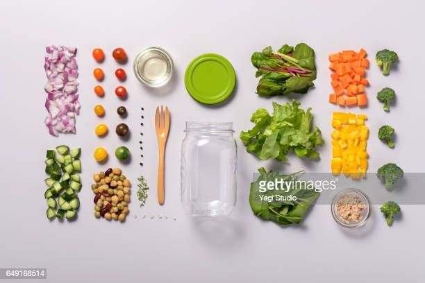 jar salad knolling style - knolling concept stock pictures, royalty-free photos & images