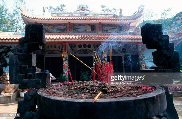 Jar with burning incense in the ancient capital..