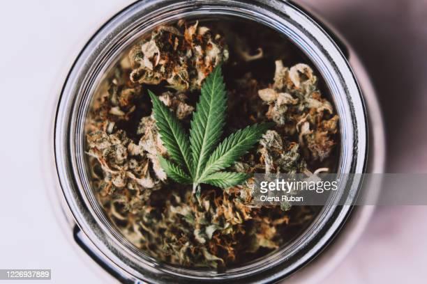 jar with marijuana cones - 合法化 ストックフォトと画像