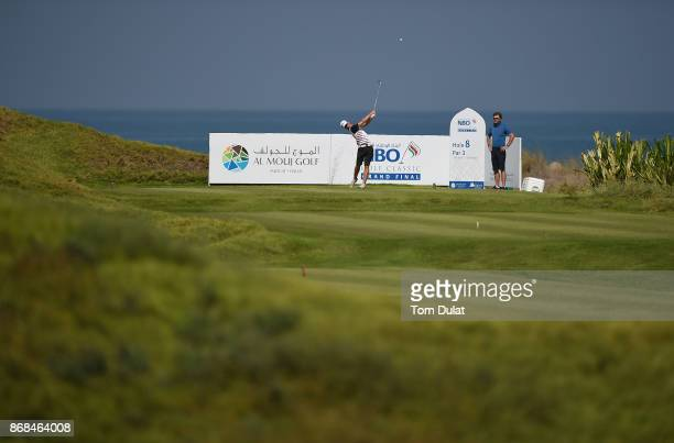 Jarand Ekeland Arnoy of Norway tees off from the 8th hole prior to the NBO Golf Classic Grand Final European Challenge Tour at Al Mouj Golf on...