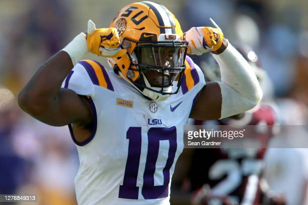 Jaray Jenkins of the LSU Tigers reacts after making a first down against the Mississippi State Bulldogs during a NCAA football game at Tiger Stadium...
