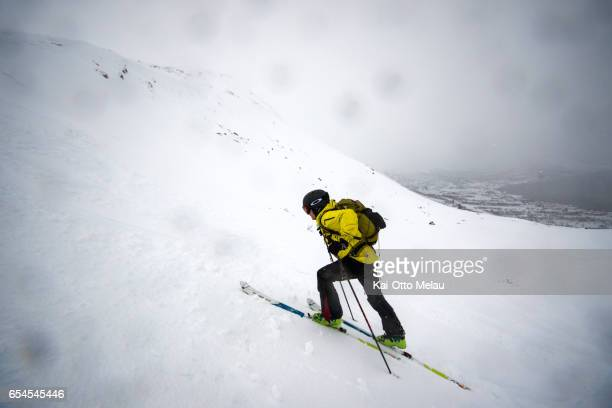 Jard Bringedal testing parts of the track for The Arctic Triple Lofoten Skimo the day before the race on March 17 2017 in Svolvar Norway The Arctic...