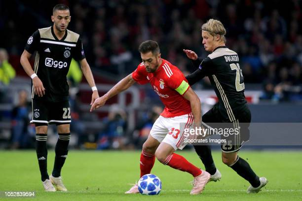 Jardel of Benfica Kasper Dolberg of Ajax during the UEFA Champions League match between Ajax v Benfica at the Johan Cruijff Arena on October 23 2018...