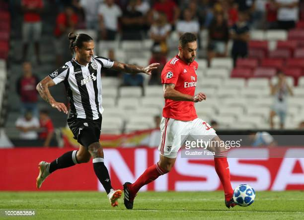 Jardel of SL Benfica with Aleksandar Prijovic of PAOK in action during the UEFA Champions League Play Off match between SL Benfica and PAOK at...