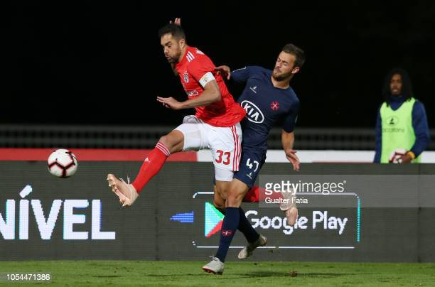 Jardel of SL Benfica with Jonatan Lucca of Belenenses SAD in action during the Liga NOS match between Belenenses SAD and SL Benfica at Estadio...