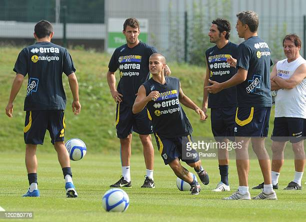 Jardin Brandao Sebastian Giovinco Alessandro Lucarelli Hernan Crespo of Parma attend a Parma FC preseason training session at the Hives centre in...