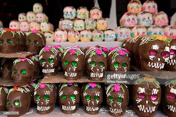 Sugar skulls for sale at the Day of the Dead market in Guanajuato.