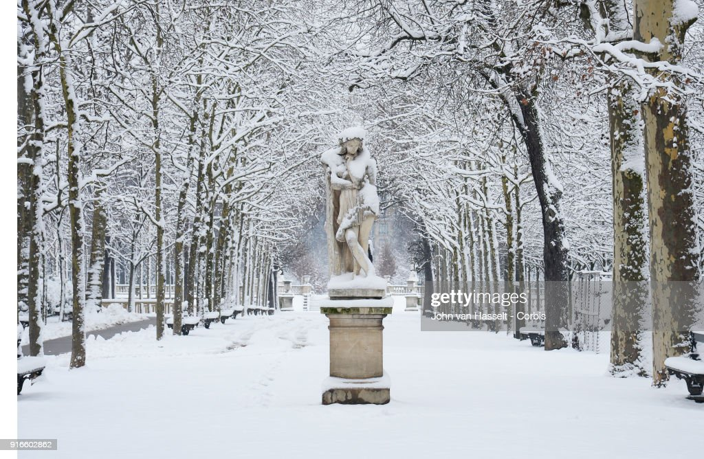 Jardin Du Luxembourg Under The Snow On February 07 2018 In Paris