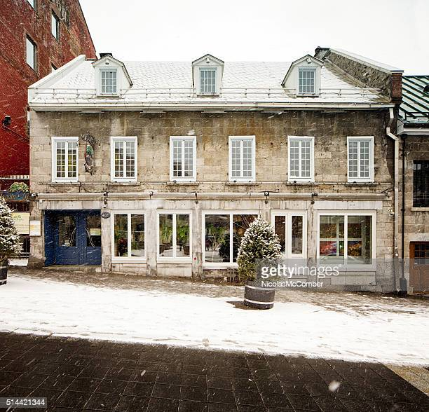 Jardin Nelson restaurant facade on snowy day Old Montreal