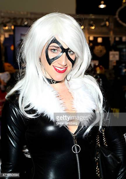 Jare Longacre of California dressed as Black Cat from 'The Amazing SpiderMan' movie attends Wizard World Comic Con Las Vegas at the Las Vegas...