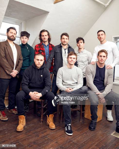 The cast and crew from the film 'American Animals' pose for a portrait in the YouTube x Getty Images Portrait Studio at 2018 Sundance Film Festival...