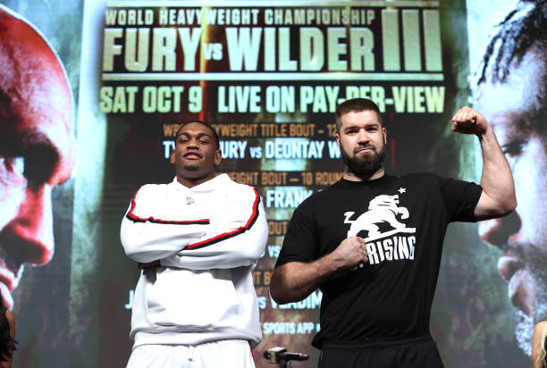 Jared Anderson and Vladimir Tereshkin pose during the undercard press conference at MGM Grand Garden Arena on October 07, 2021 in Las Vegas, Nevada.