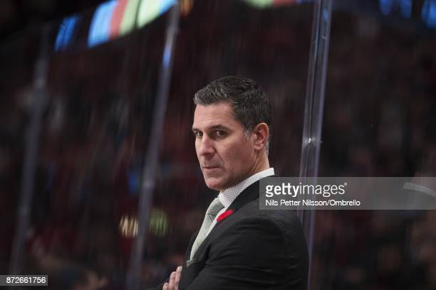 Jared Bednar head coach of Colorado Avalanche during the 2017 SAP NHL Global Series match between Ottawa Senators and Colorado Avalanche at Ericsson...