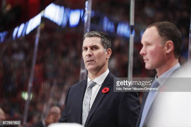 Jared Bednar head coach of Colorado Avalanche during the 2017 SAP NHL Global Series match between Colorado Avalanche and Ottawa Senators at Ericsson...