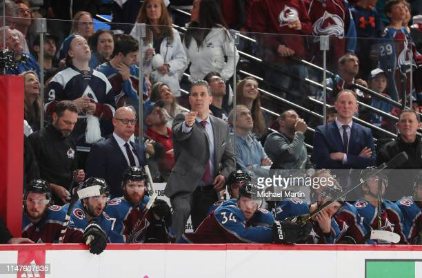 Jared Bednar head coach of the Colorado Avalanche directs his team against the San Jose Sharks in Game Six of the Western Conference Second Round...